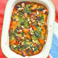 Baked Spinach, Squash and Blue Cheese
