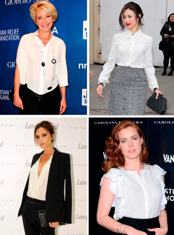 Celebrities wearing white shirts