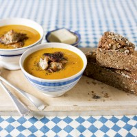 Butternut Squash Soup with Shiitake Mushrooms and Rye Soda Bread