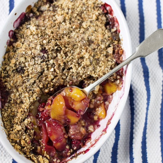 Photo of Peach and blackberry crumble