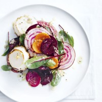 Raw Beetroot Salad with Grilled Goats' Cheese