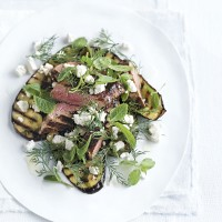 Grilled lamb and aubergine with feta and mint salad