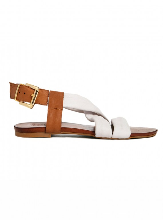Bertie Junger white leather strap sandals