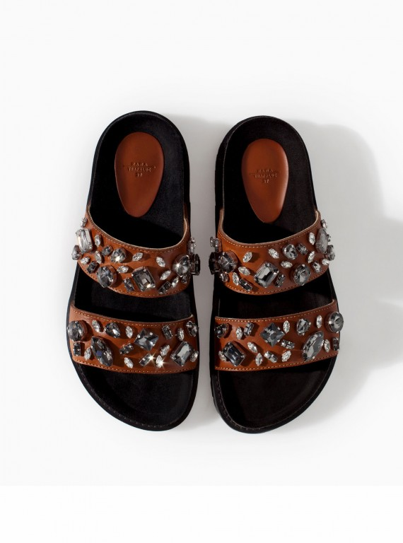 Zara leather bio sandals with jewels