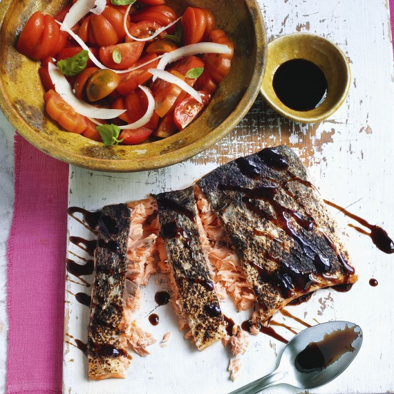Crispy salmon with heritage tomatoes photo