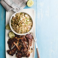 Coconut rice pilaf with lamb cutlets
