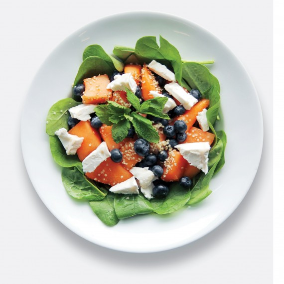 Goats' cheese, melon, blueberries and spinach photo