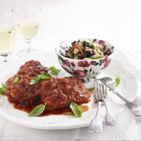 Chicken in Tomatoes and Red Wine with a Warm Bean Salad