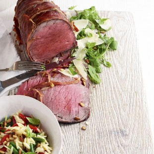 Parma-Wrapped Beef Topside With Orzo Salad