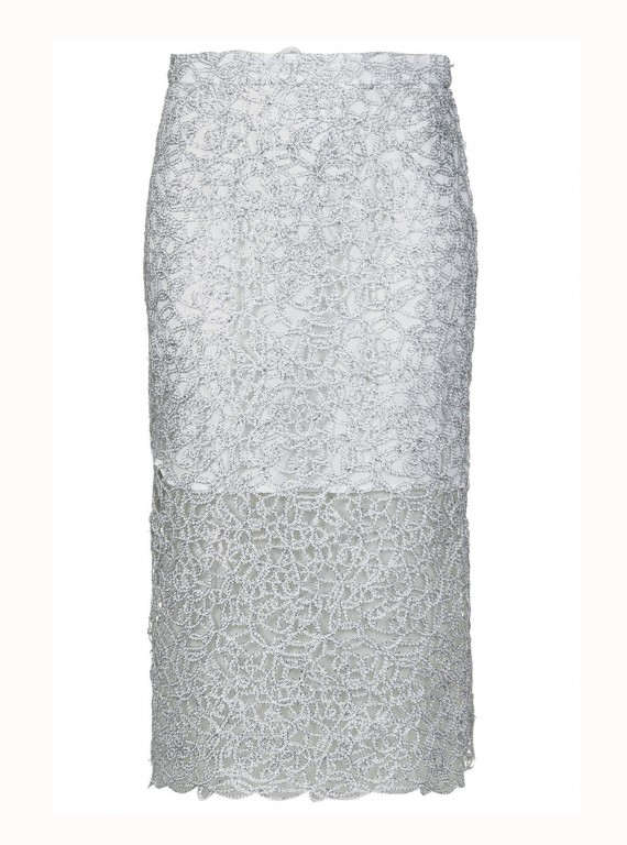 Topshop Limited Edition Silver Cornelli Pencil Skirt photo