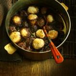 Beef Meatballs in Guinness with Horseradish Dumplings