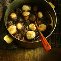 Beef Meatballs in Guinness with Horseradish Dumplings