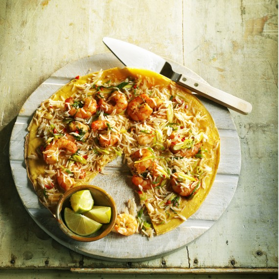 Asian prawn and rice omelette