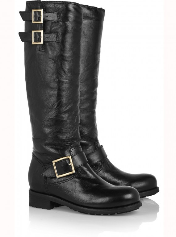 Jimmy Choo Yule Leather Biker Knee Boots photo