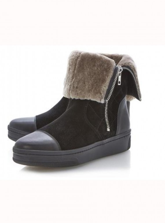 Dune Pingoo Side Zip Quilted Panel Ankle Boots photo