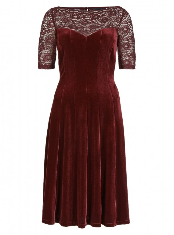 Marks and Spencer Lace Yoke Velour Skater Dress
