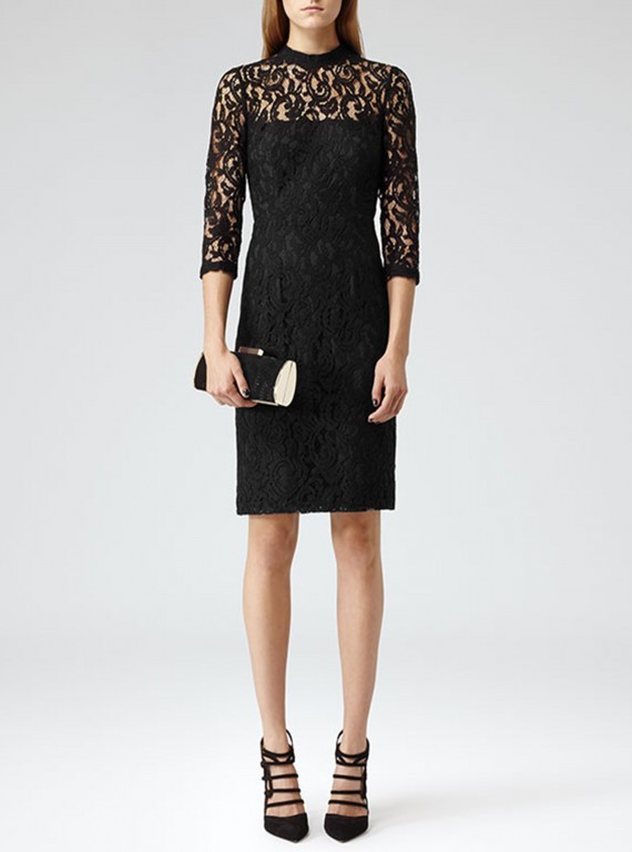 Reiss Delilah Black Fitted Lace Dress photo