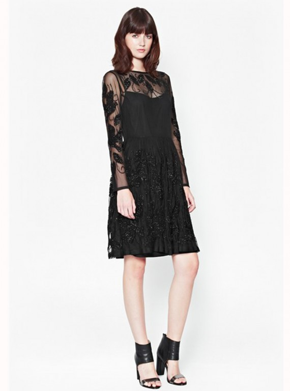 French Connection Socoro Sequins Semi-Sheer Dress photo