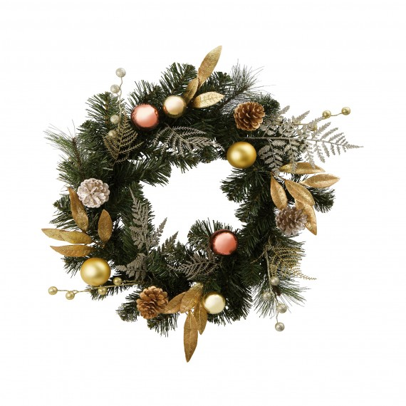 Homebase Gold Bauble And Leaf Wreath Christmas