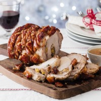 Roast Pork with Apricot and Mushroom Stuffing