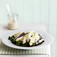 Anchovy, Avocado and Kale Caesar Salad