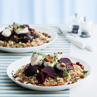 Freekeh Pilaf with Beetroot, Goats' Cheese and Nuts