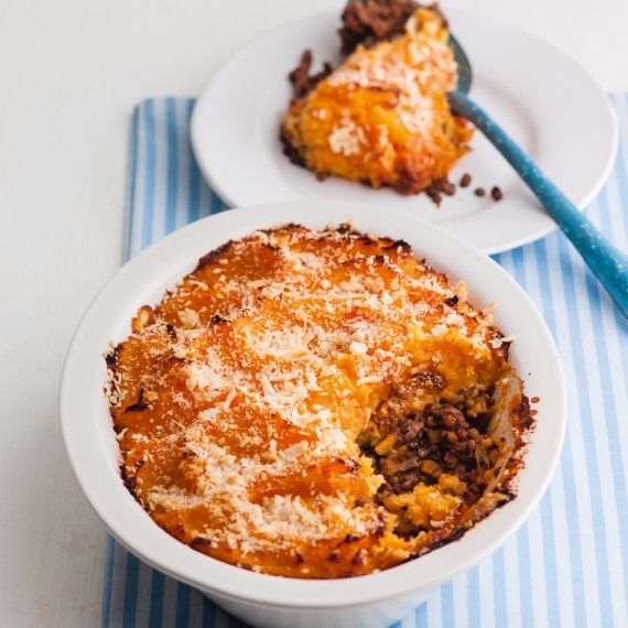 Half And Half Cottage Pie With Root Veg Mash Woman And