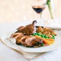 Maple and Orange-Glazed Duck with Mini Saut� Potatoes