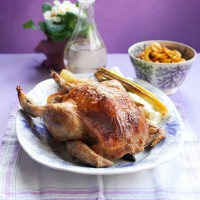 "Brined Roast Chicken with Sesame Roast Potatoes and Cucumber ""Kimchi"""