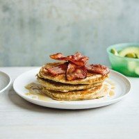 Dairy Free Spelt Pancakes with Bacon and Avocado
