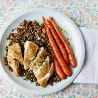 Chicken Supremes with Puy Lentils and Cumin-Glazed Carrots