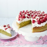 Matcha Cake with Raspberries and White Chocolate