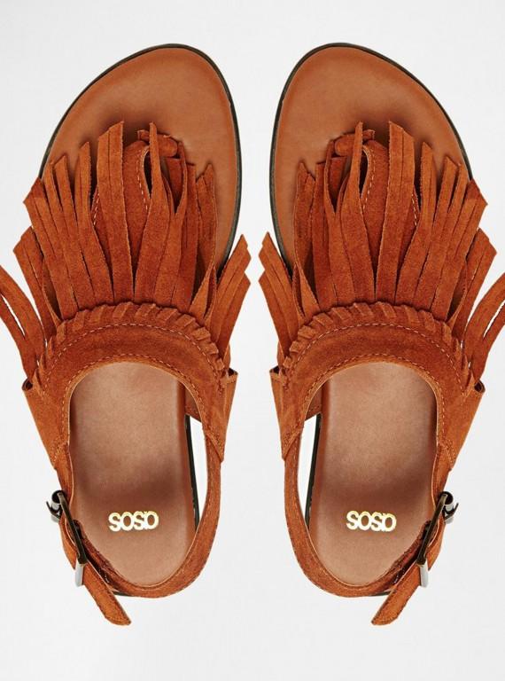 ASOS Suede Fringed Sandals