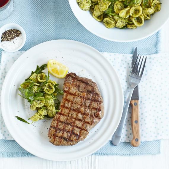Chargrilled Steak with Basil Orecchiette Recipe