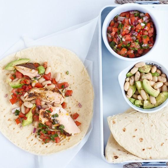 Cajun Salmon Wraps with Salad