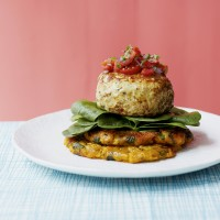 Turkey Burgers on Sweet Potato Fritters