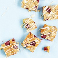Gluten Free White Chocolate and Raspberry Blondies