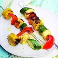 Marinated Paneer and Halloumi Skewers