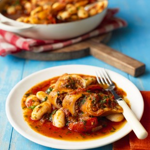 Chorizo-Stuffed Squid with Butter Beans
