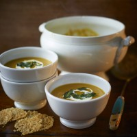 Roasted Pumpkin And Sweet Potato Soup With Parmesan Crisps