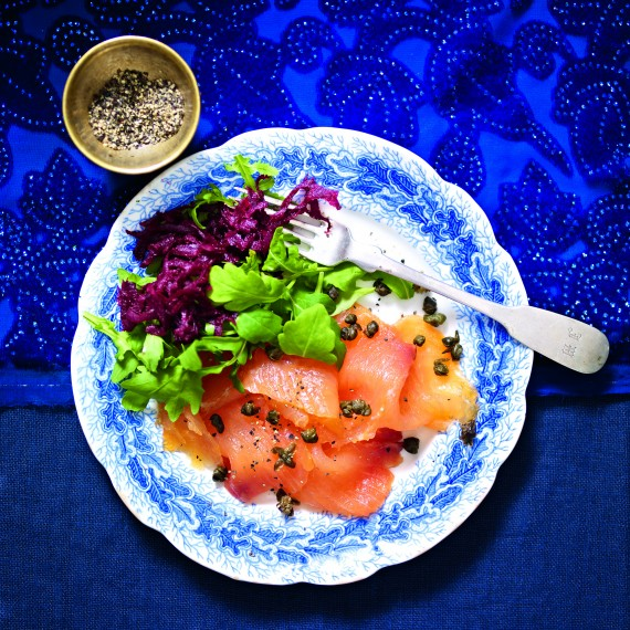 Smoked Salmon with Beetroot and Deep Fried Capers