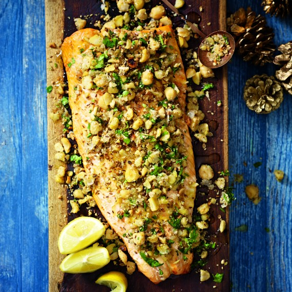 Roast Side of Salmon with Chickpea Dukkah