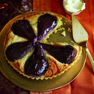 Mulled Wine Poached Pear Tart
