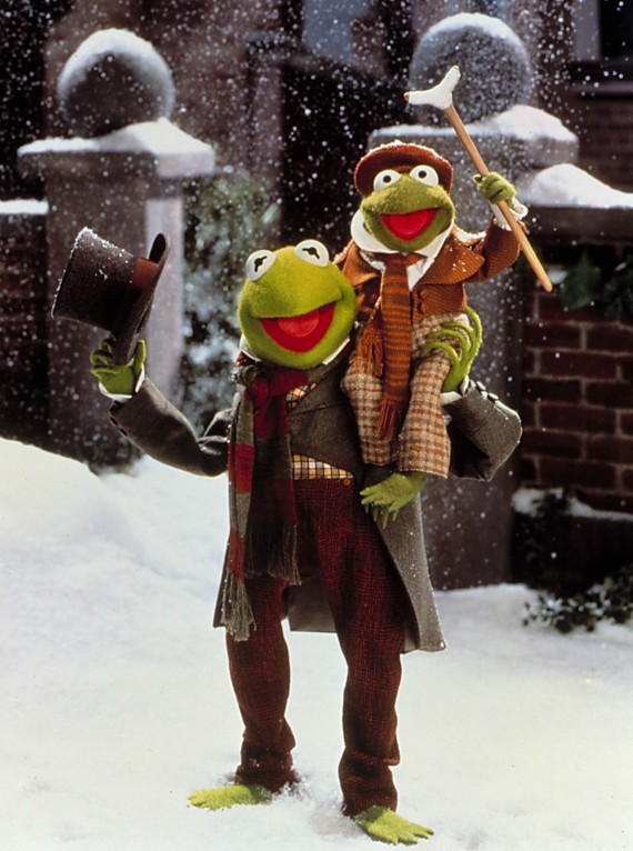 Kermit and son in Muppet Christmas Carol