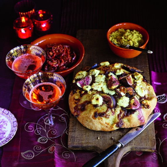 Foccacia and green olive tapenade