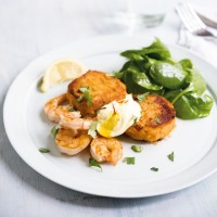 Amelia Freer's Sweet Potato Cakes With Grilled Tiger Prawns and Ginger-Saffron Yogurt