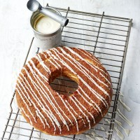 James Martin's Bourbon Glazed Monster Doughnut with Malted Milk Ice Cream