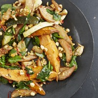 Peter Gordon's Chilli-Roast Sweet Potato With Courgettes, Hazelnuts and Pears