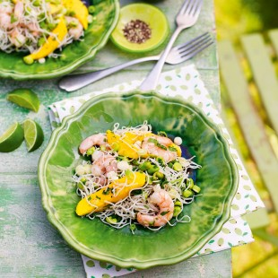 Chilled Noodles with Prawns, Mango and Yuzu
