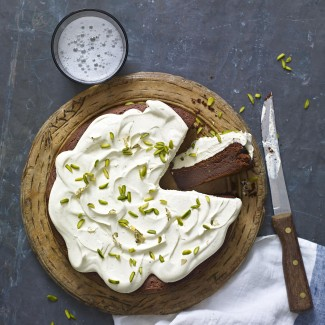 Stacie Stewart's gluten free chocolate torte with pistachio cream